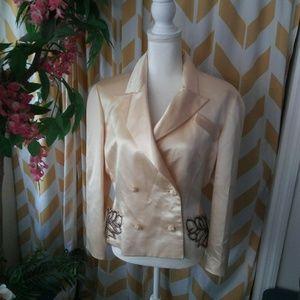 Valentino Size 12 Ivory Silk Beaded blazer